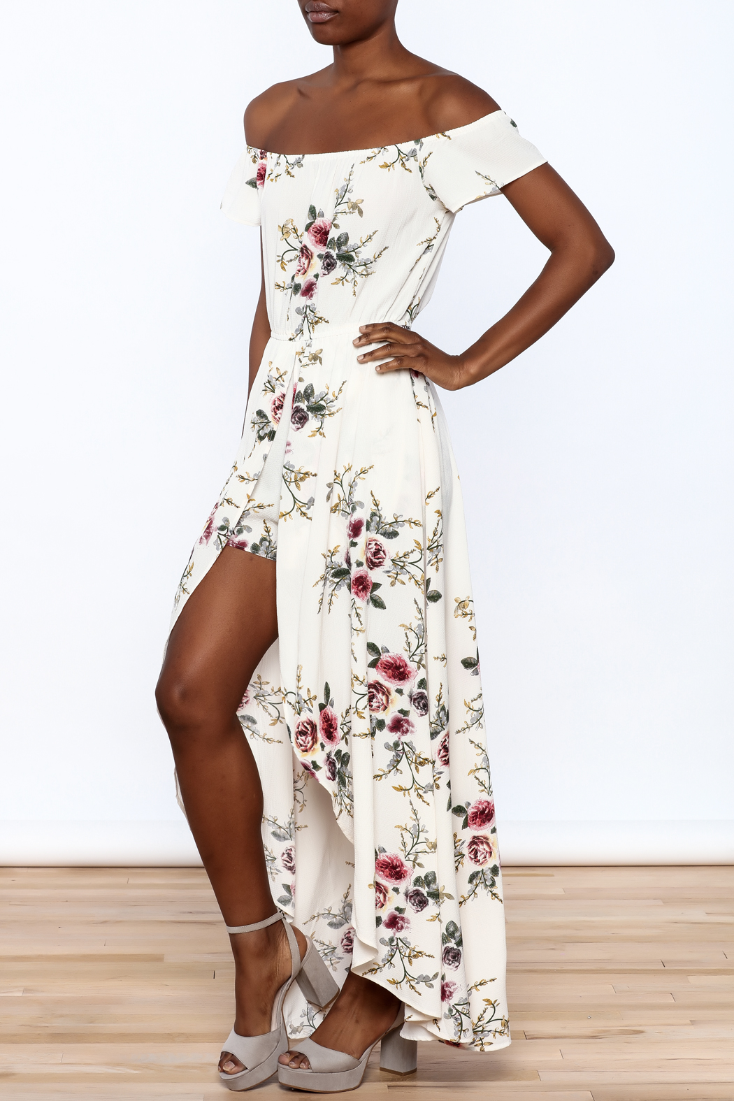 A Peach Floral Maxi Romper - Front Full Image