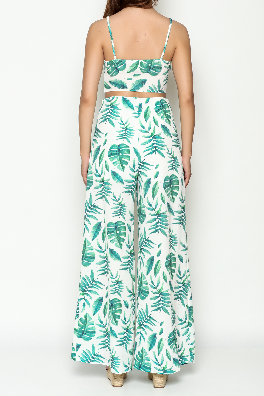 A Peach Tropical Pant Set - Back Cropped Image
