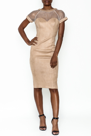 A Peach Mesh Suede Dress - Product Mini Image
