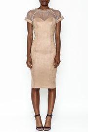A Peach Mesh Suede Dress - Front full body