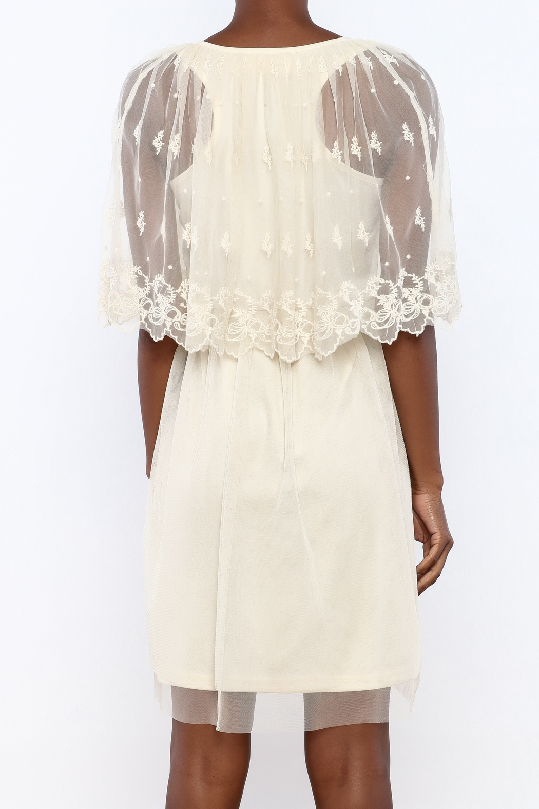 A'reve Ivory Capel Lace Dress - Back Cropped Image