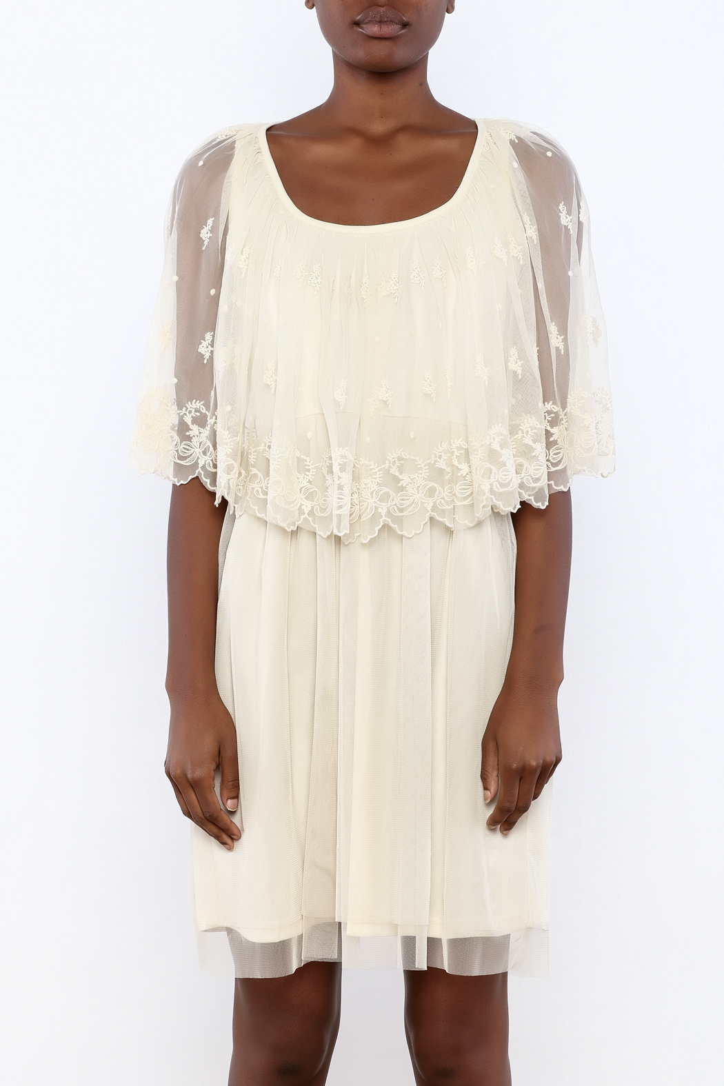 A'reve Ivory Caplet Lace Dress - Side Cropped Image