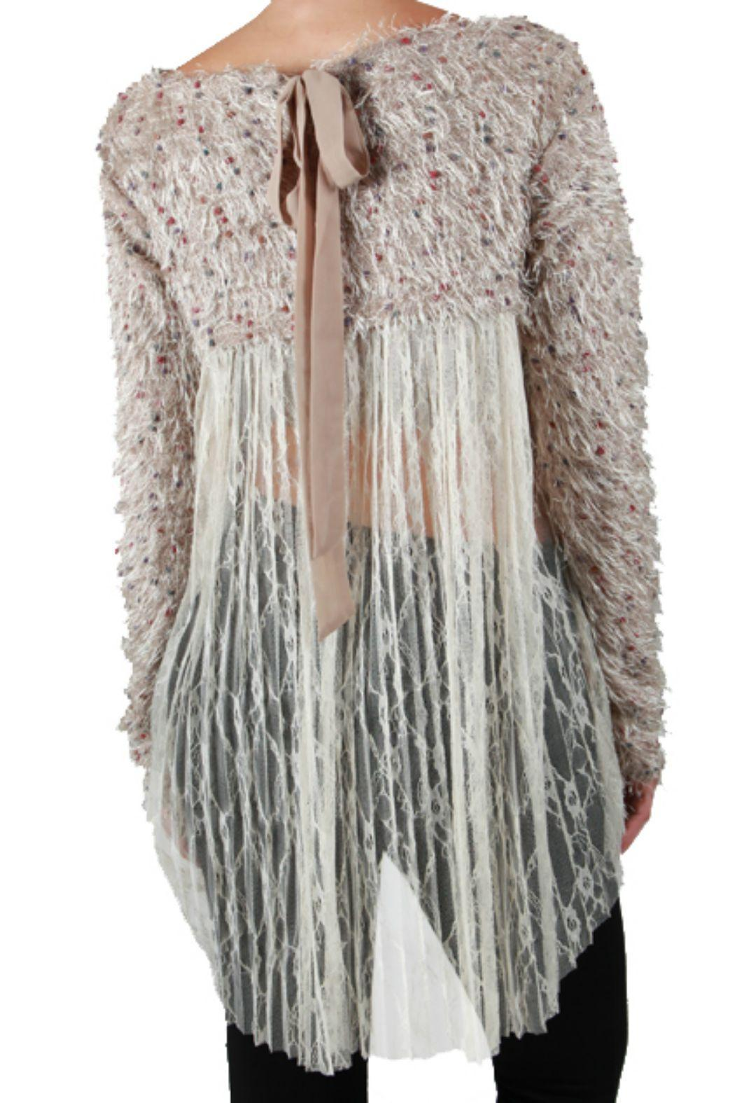 A'reve Lace Back Sweater - Side Cropped Image