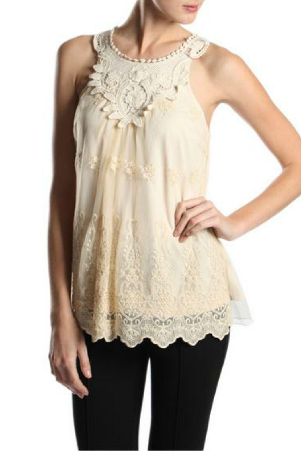 A'reve Lace Sleeveless Top - Front Cropped Image