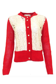 A'reve Red Knit Cardigan - Product Mini Image