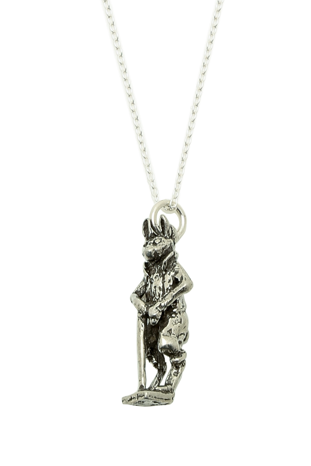 A Silver Lining Gentleman Rabbit Necklace - Front Full Image