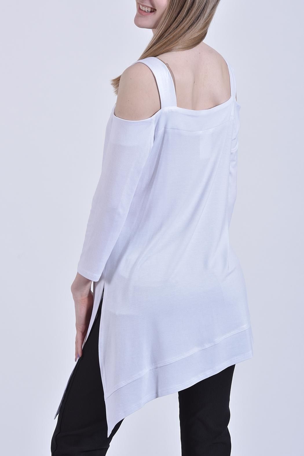 Zoe A-Symmwetrical White Tunic - Front Full Image