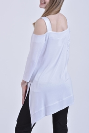 Zoe A-Symmwetrical White Tunic - Front full body