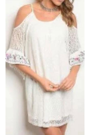 11 Degree WHITE COLD SHOULDER LACE TUNIC/DRESS - Product Mini Image
