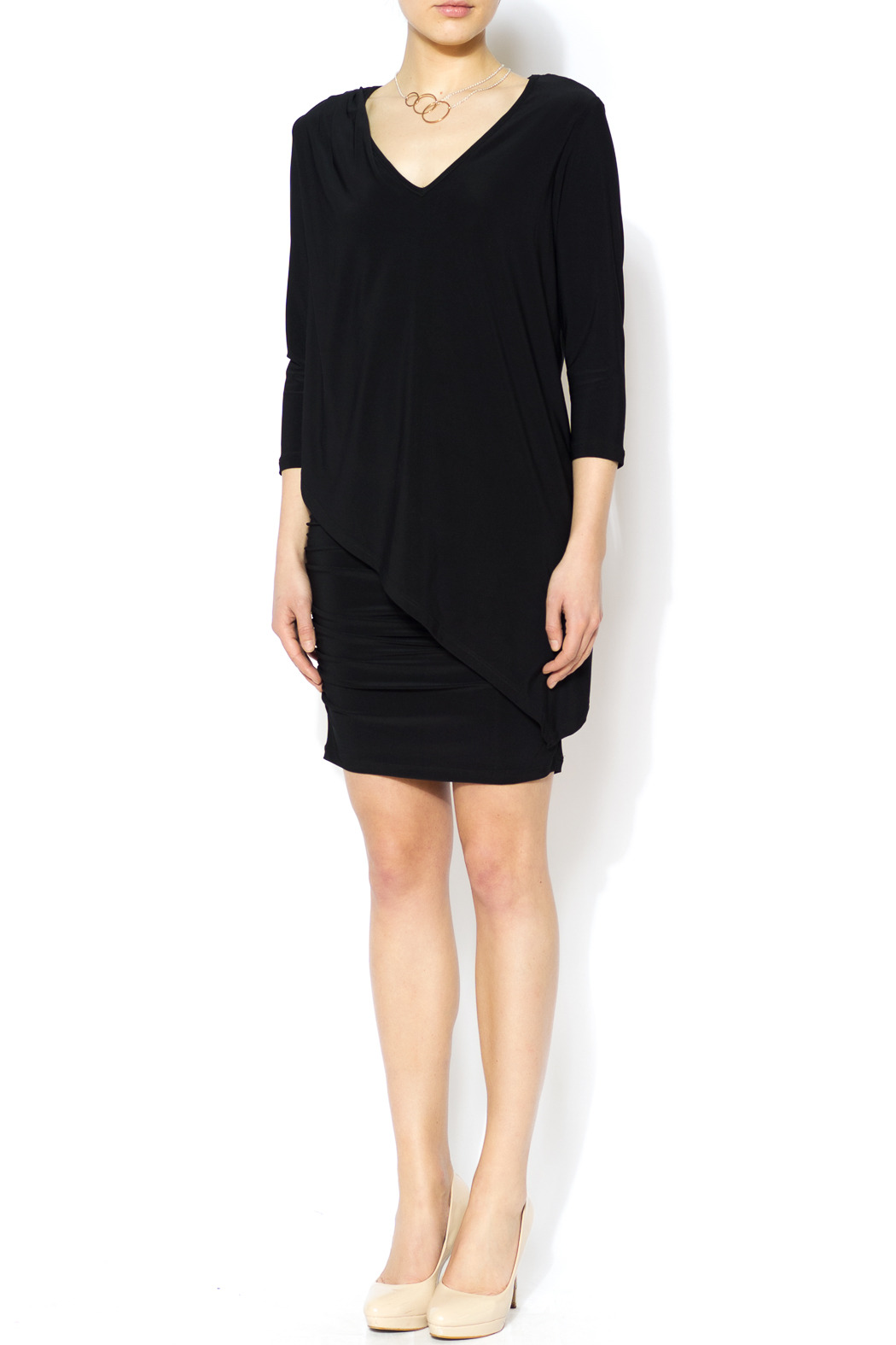 Last Tango Little Black Ruched Dress - Front Full Image