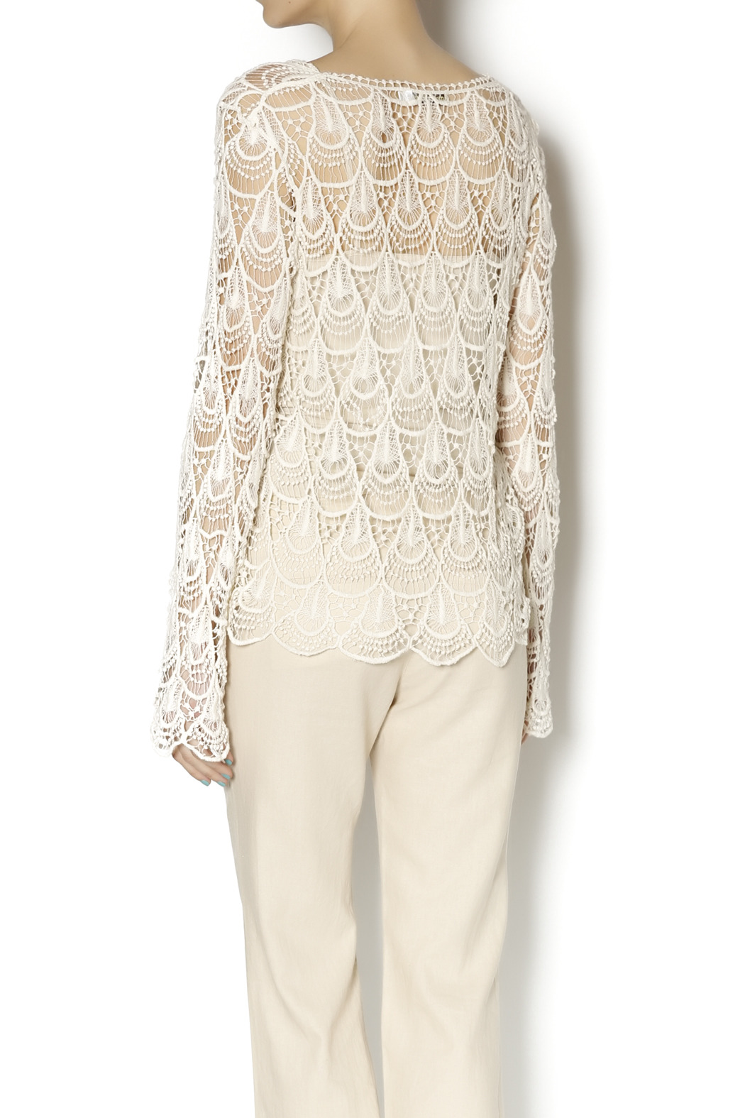 Moon River Crochet Tie Front Tunic - Back Cropped Image