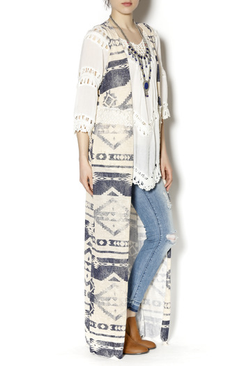 Ambiance Long Aztec Lace Duster - Main Image