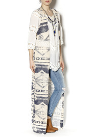 Ambiance Long Aztec Lace Duster - Front cropped