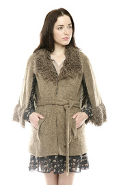 Shoptiques Product: Furry Boucle Cape - Front cropped
