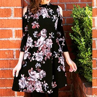 Shoptiques Cold Shoulder Floral Dress