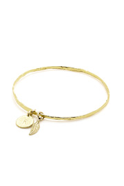 Love & Whiskey Charm Initial Bangle - Front cropped
