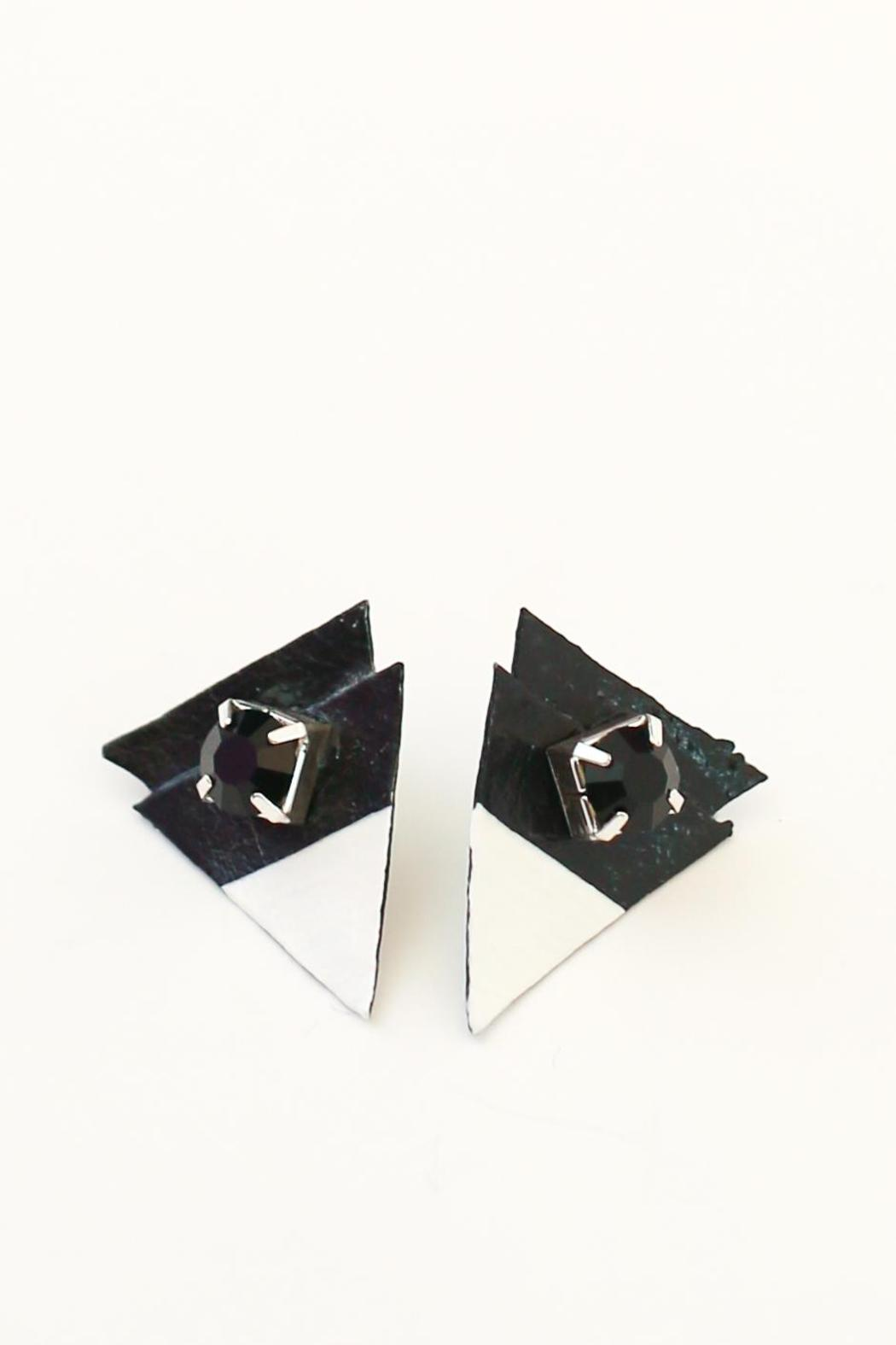 Flocktails Triangle Leather Earrings - Main Image