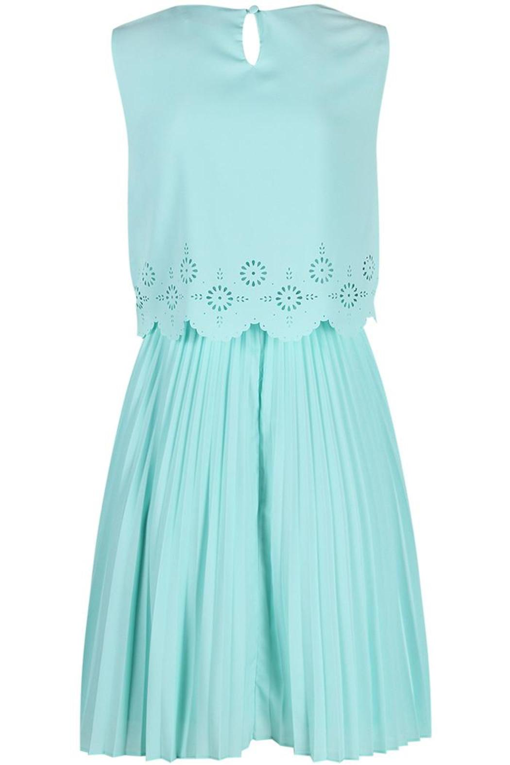Darling Layered Pleated Dress - Back Cropped Image