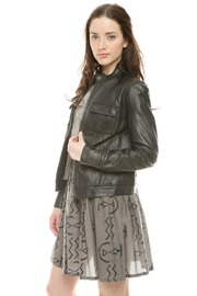 Members Only Basic Leather Jacket - Front cropped