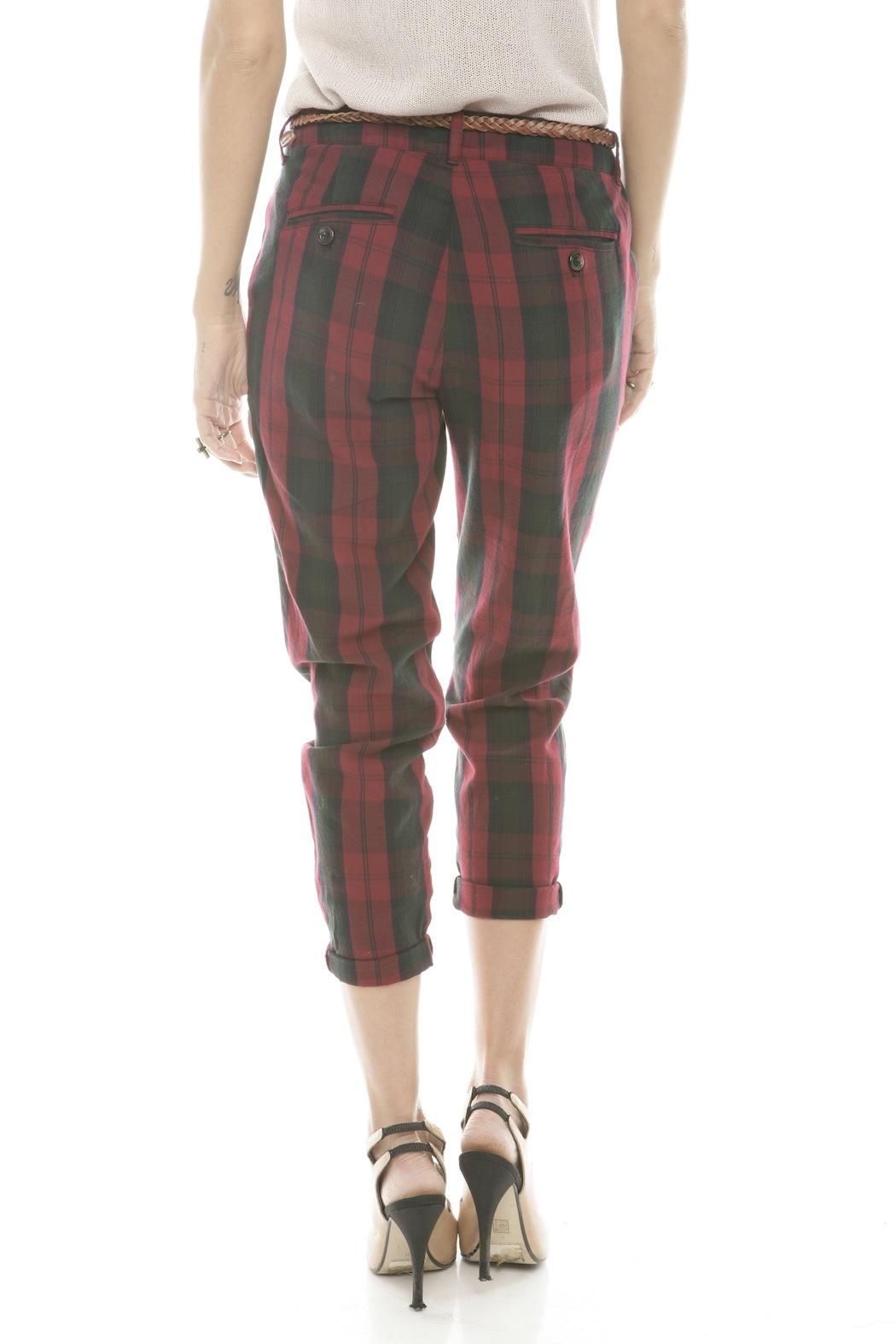 Rails Red Plaid Pants - Back Cropped Image