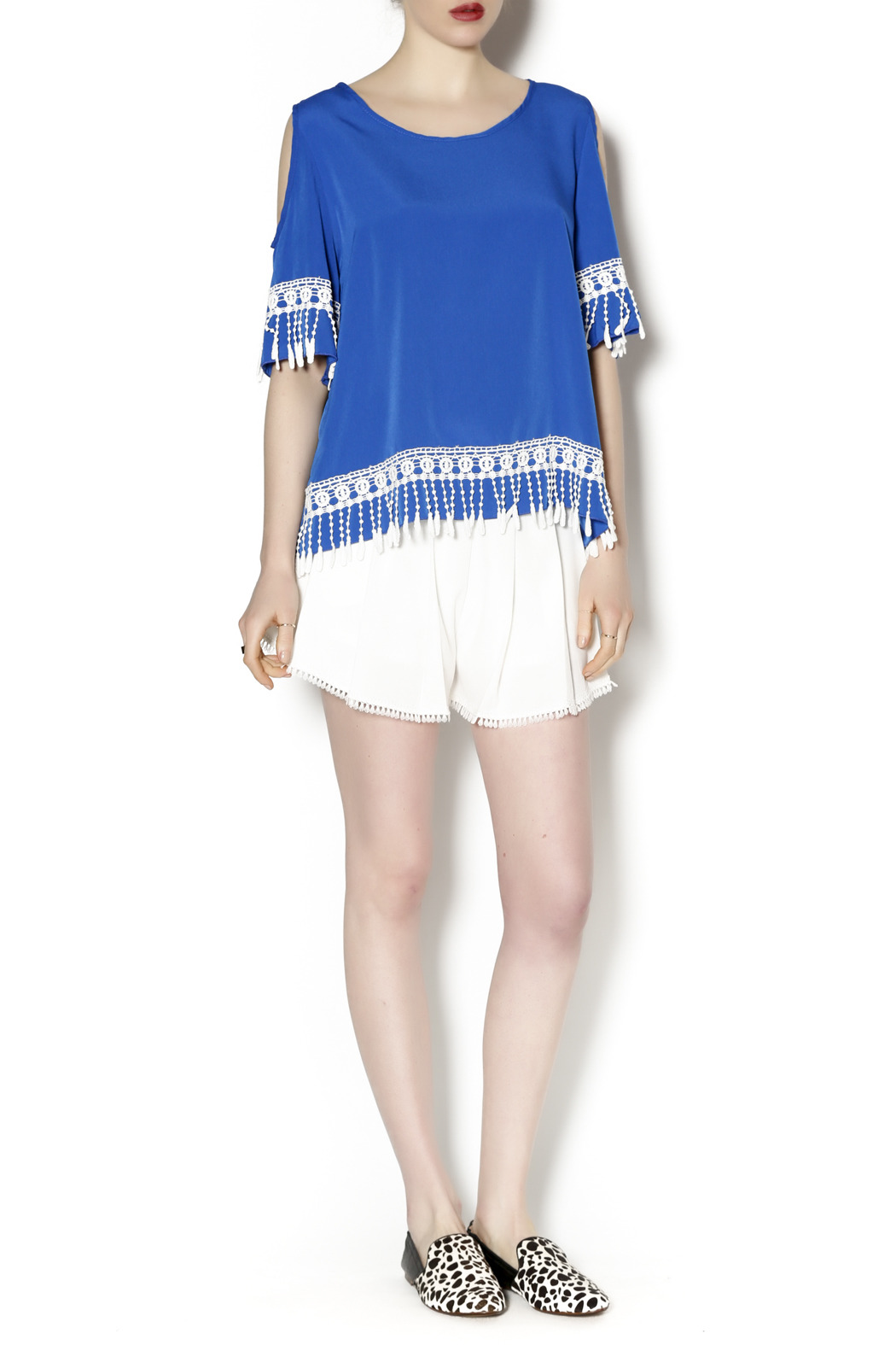 Abby & Taylor Blue Crochet Trim Tunic - Front Full Image