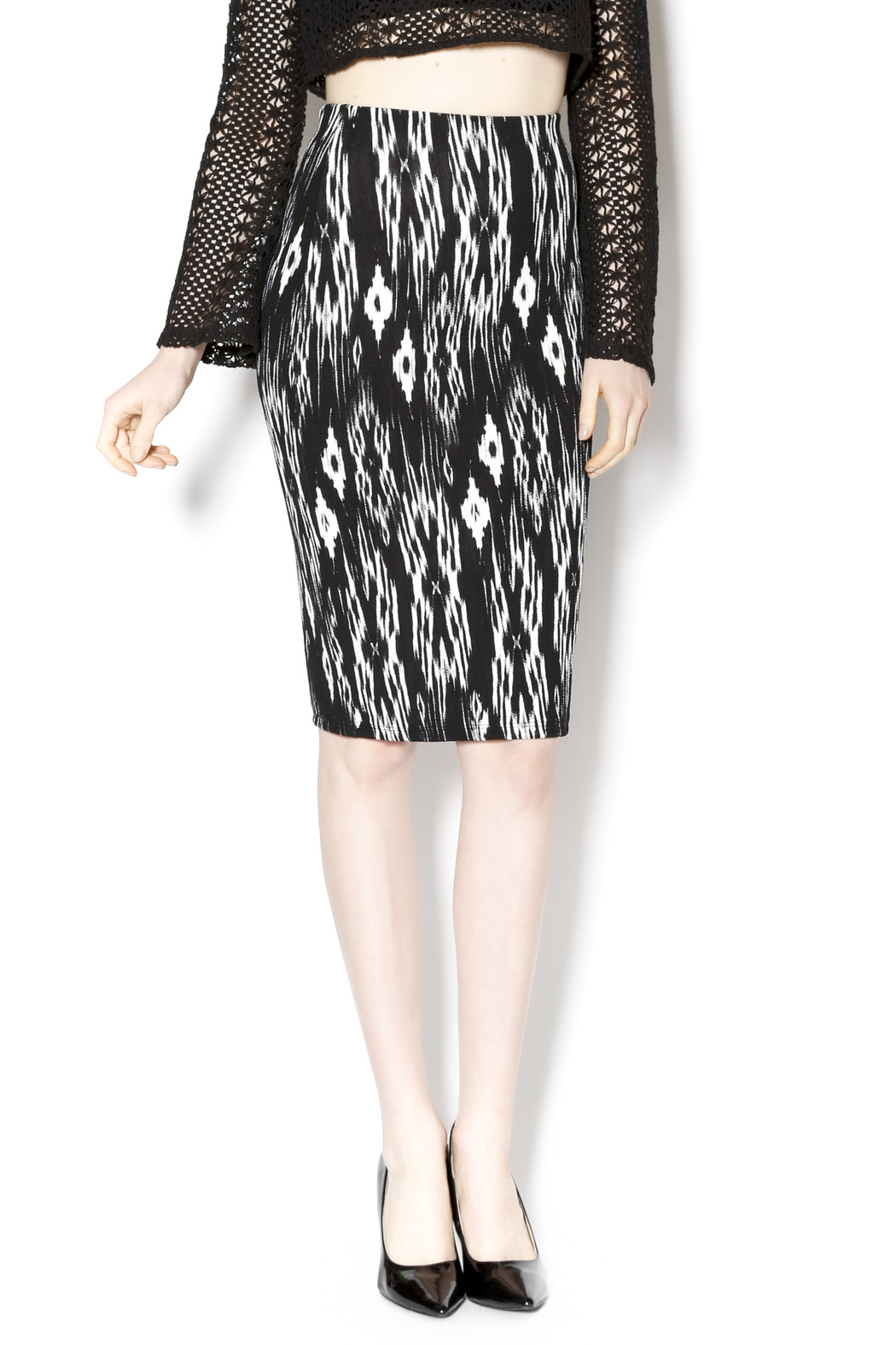 la ropas black white aztec pencil skirt from utah by my
