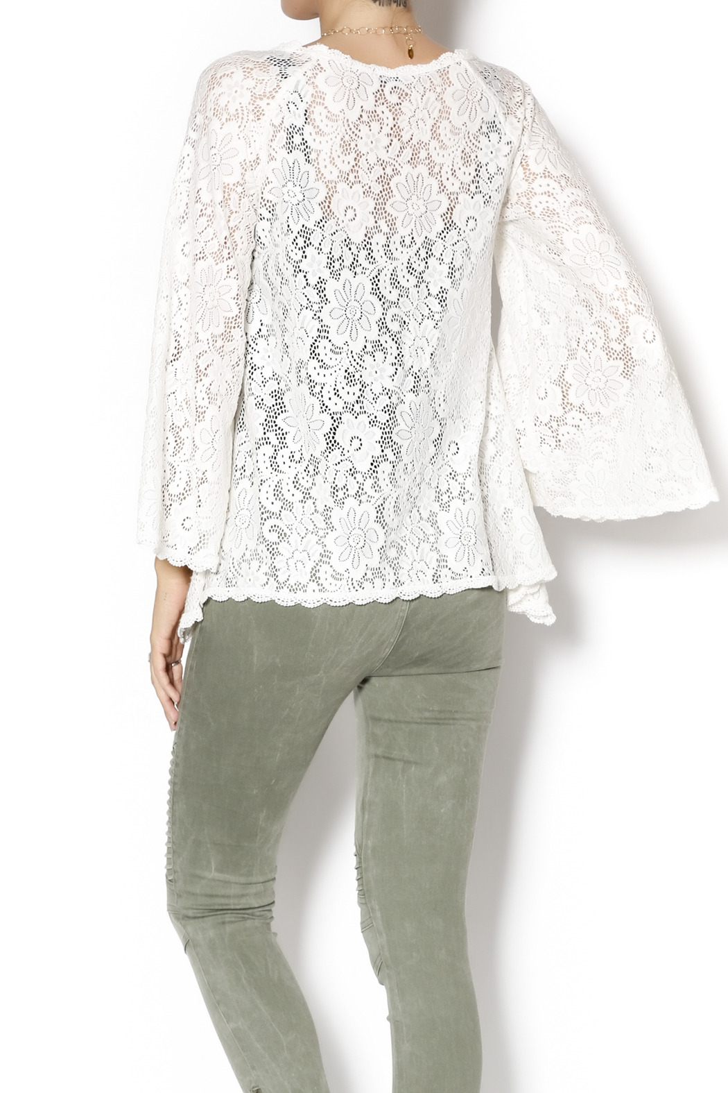 Gina Louise Lace Bell Sleeve Top - Back Cropped Image