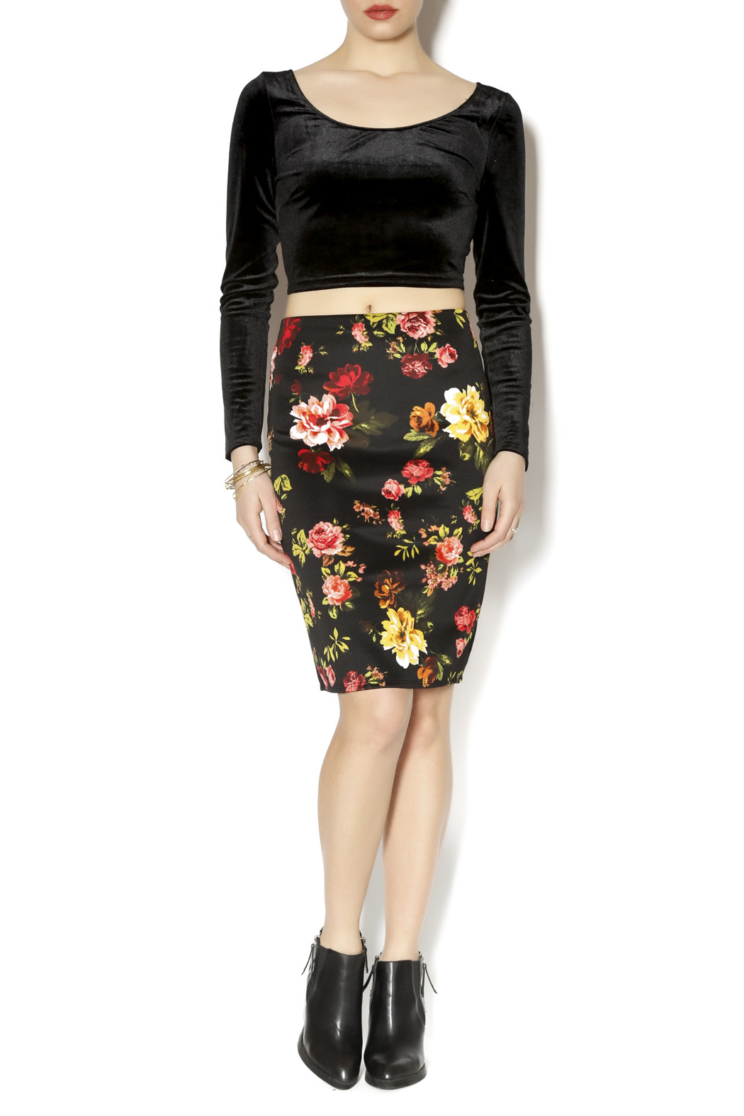 Ambiance Floral Pencil Skirt - Front Full Image