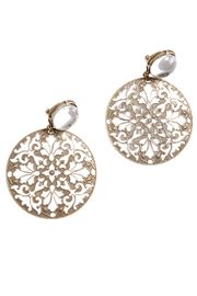 Shoptiques Product: Antique Finish Brocade Earrings