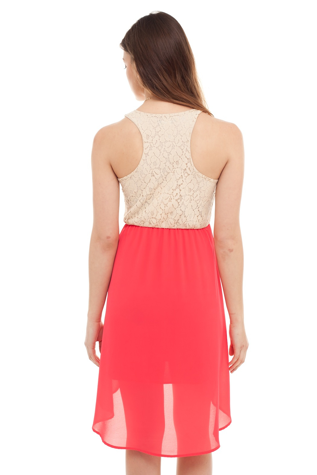 Cantata Lined Lace Dress - Back Cropped Image