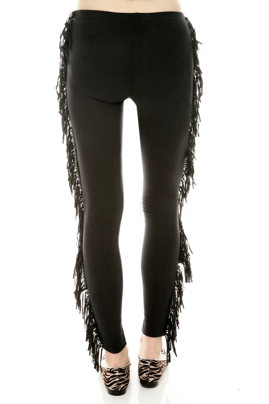 91d0b03c559cd See You Monday Black Fringe Leggings - Back Cropped Image