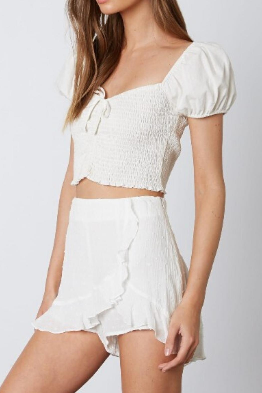 a beauty by bnb Ruffle Trim Skort - Front Full Image