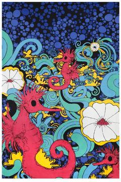 A Little Bit Hippy Red Seahorse Tapestry - Alternate List Image