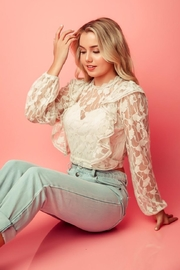 A Peach Beige Lace Top - Front full body