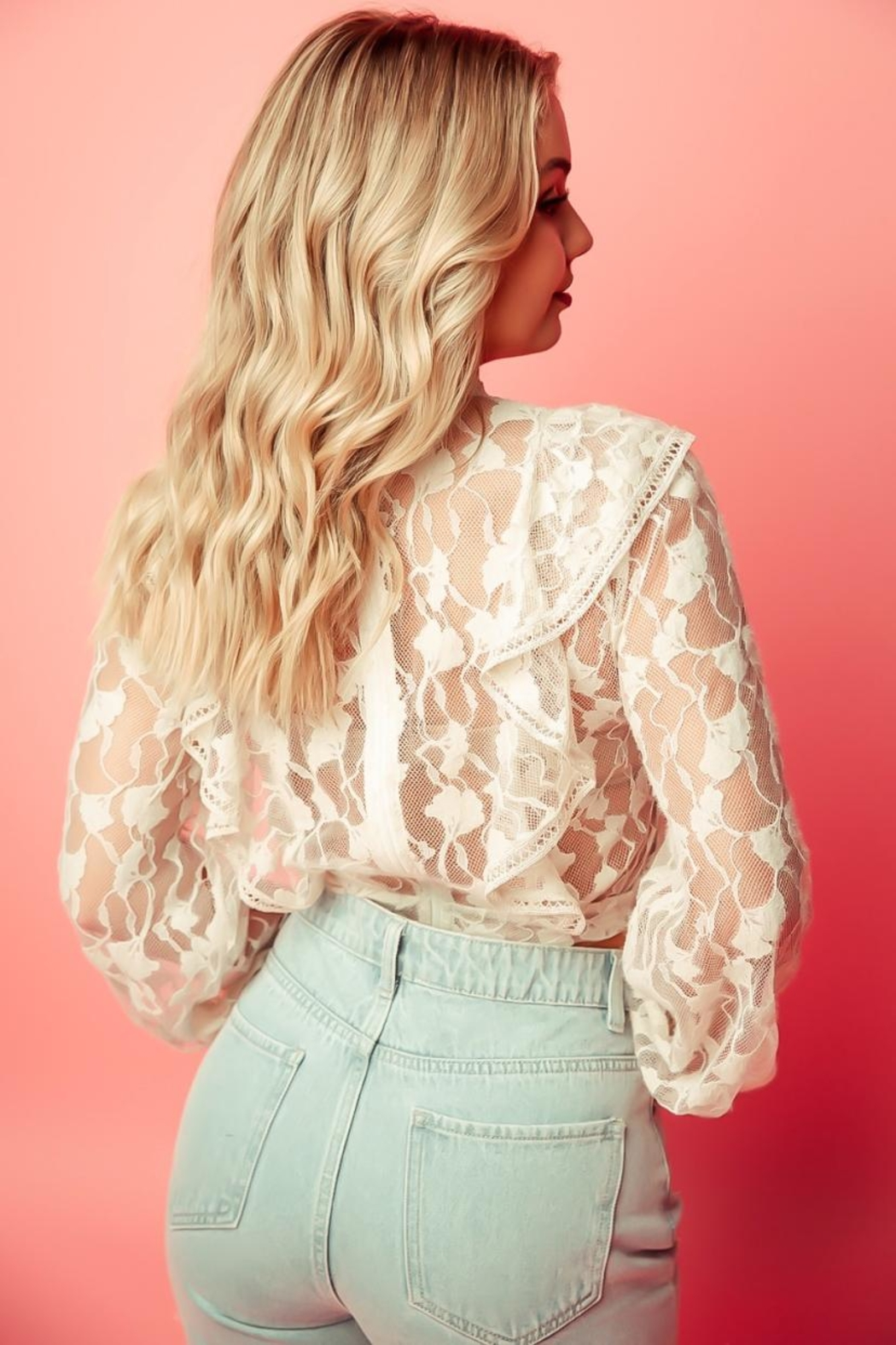 A Peach Beige Lace Top - Side Cropped Image
