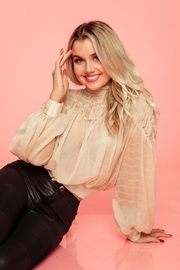 A Peach Beige Smocked Top - Front cropped