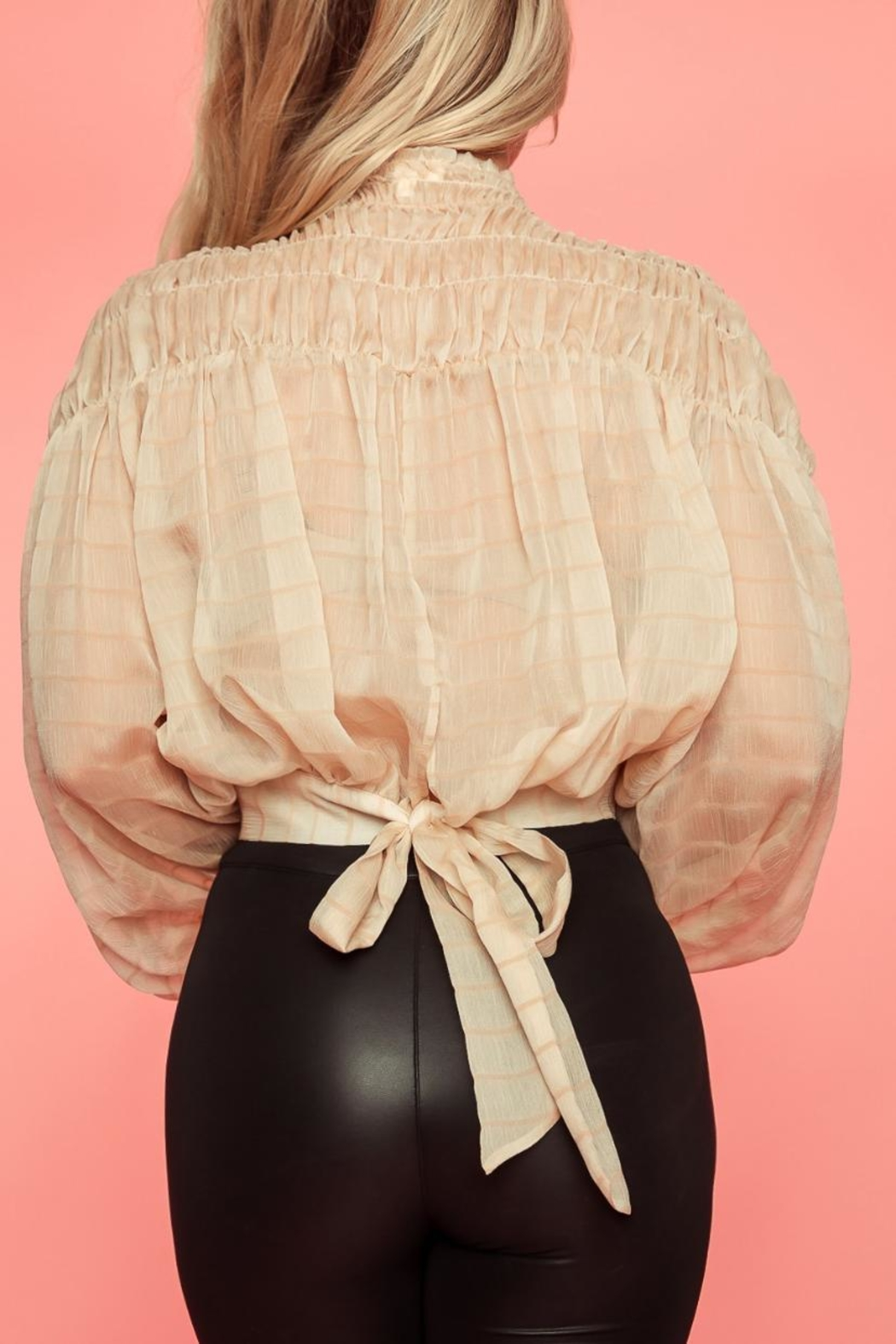 A Peach Beige Smocked Top - Side Cropped Image