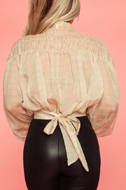 A Peach Beige Smocked Top - Side cropped