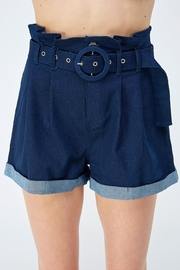 A Peach Belted Denim Shorts - Product Mini Image