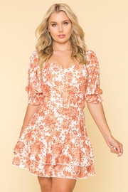 A Peach Belted Floral Dress - Product Mini Image