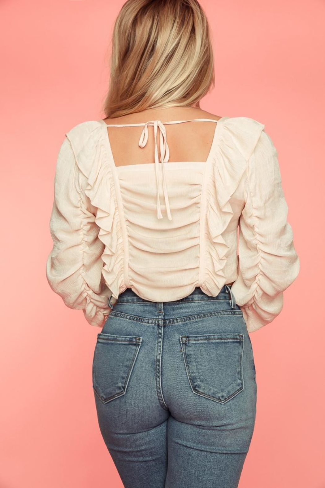 A Peach Blush Ruffled Top - Side Cropped Image