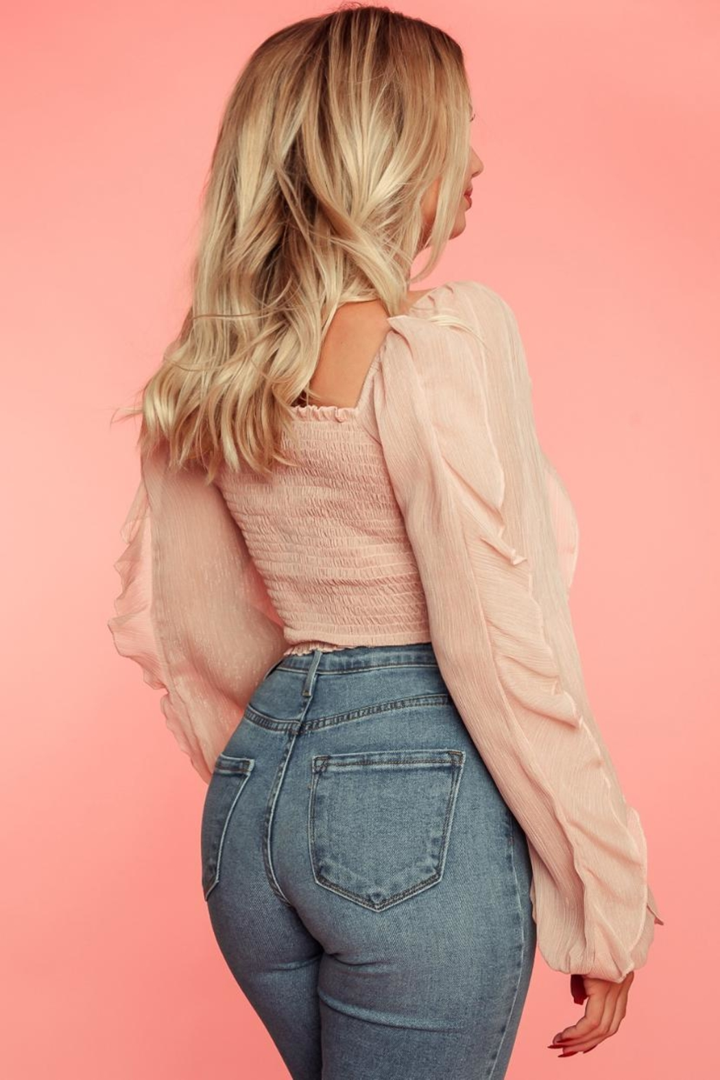 A Peach Blush Smocked Top - Side Cropped Image