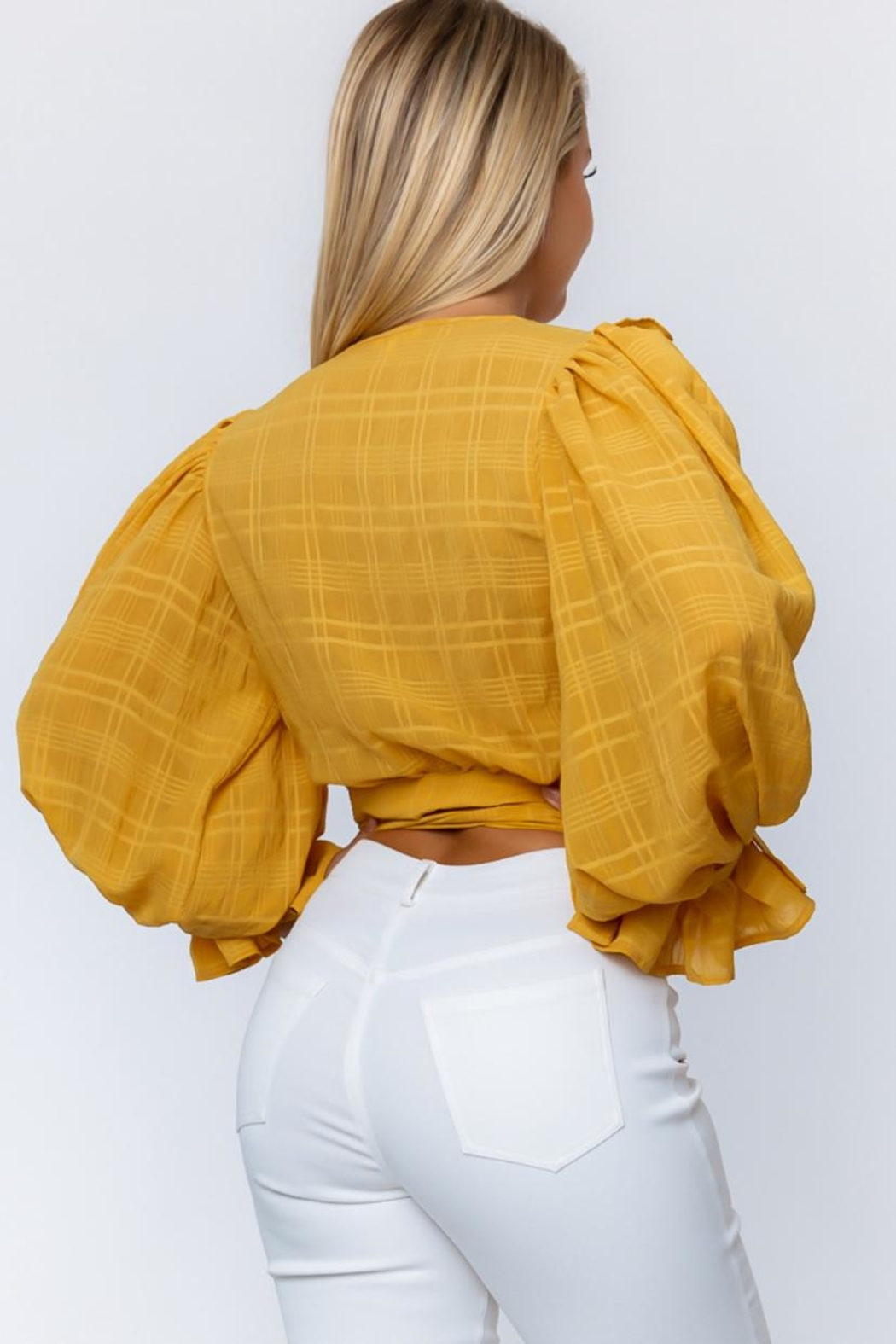 A Peach Butterscotch Wrap Top - Front Full Image