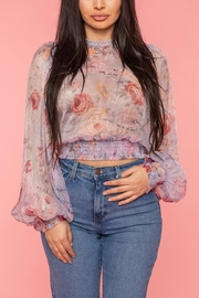 A Peach Chiffon Floral Top - Front cropped