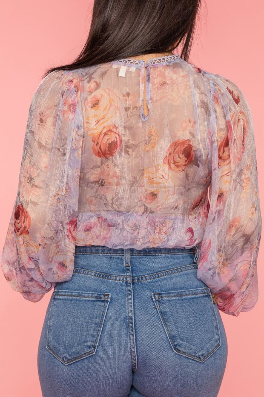 A Peach Chiffon Floral Top - Side Cropped Image