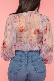 A Peach Chiffon Floral Top - Side cropped