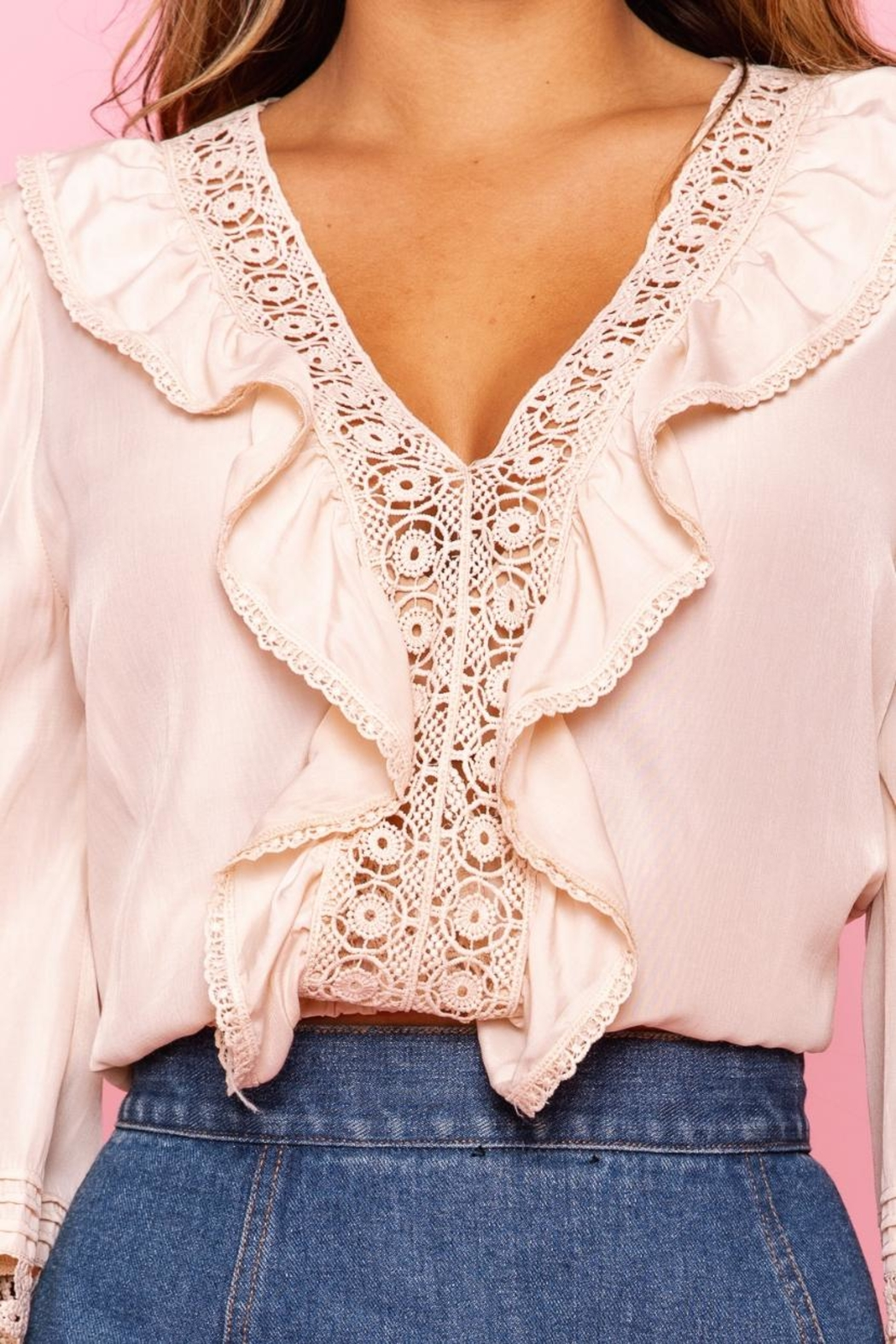 A Peach Crochet Trim Top - Side Cropped Image
