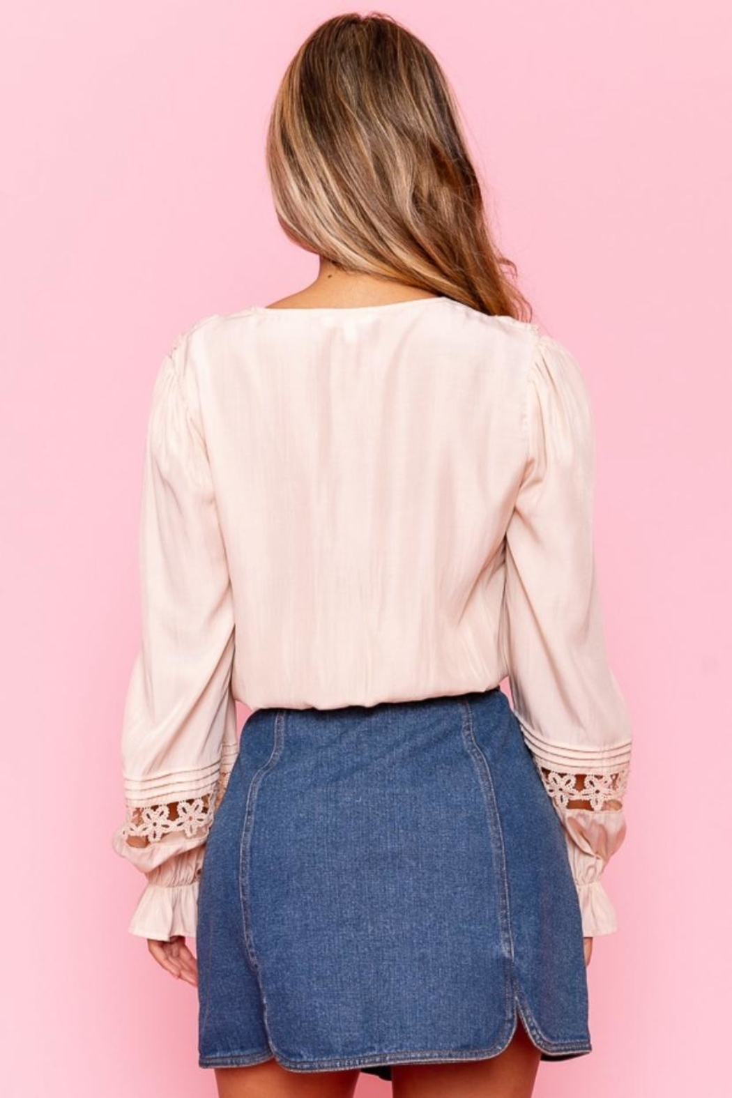 A Peach Crochet Trim Top - Back Cropped Image