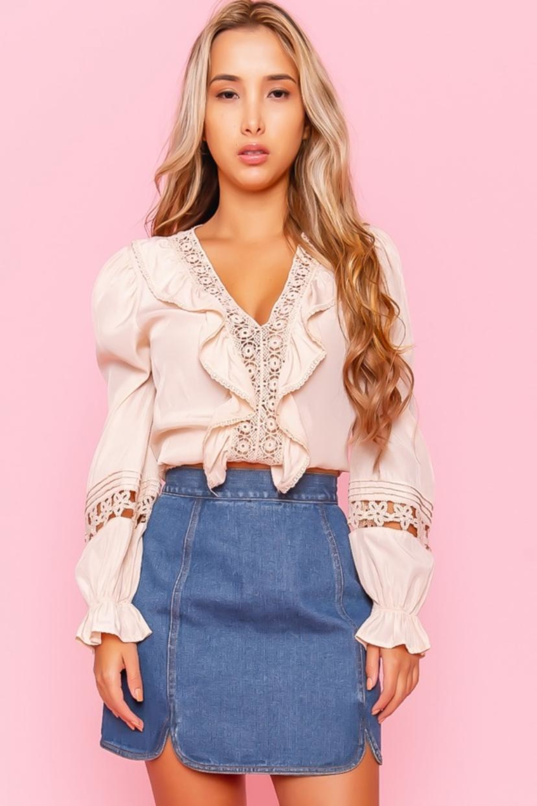 A Peach Crochet Trim Top - Front Cropped Image