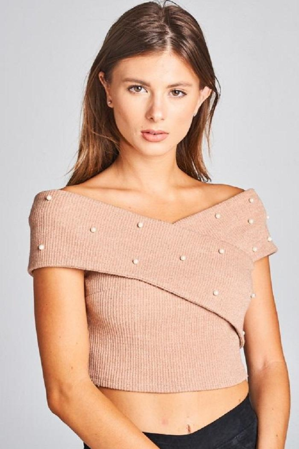 A Peach Crop Pearl Sweater Top - Front Cropped Image